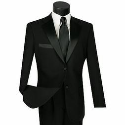 LUCCI Men's Black Classic Fit Formal Tuxedo Suit w/ Sateen L