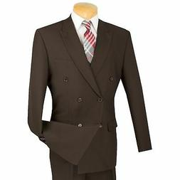 LUCCI Men's Brown Double Breasted Classic Fit Poplin Polyest