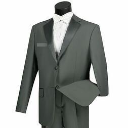 LUCCI Men's Gray Classic Fit Formal Tuxedo Suit w/ Sateen La