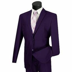LUCCI Men's Purple 2 Button Classic Fit Poplin Polyester Sui
