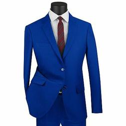 LUCCI Men's Royal Blue 2 Button Ultra Slim Fit Poplin Polyes