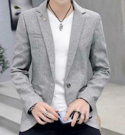 Men Casual Slim Fit One Button Suit Blazer Business Coat Jac