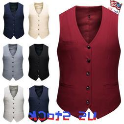 Men Dress Suit Vest Formal Business Wedding Tuxedo Waistcoat