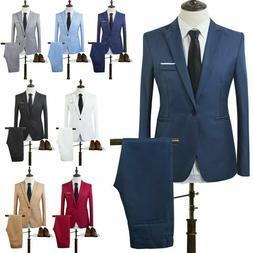 Men Tuxedos Jacket Pants Set Slim Fit Business Formal Weddin