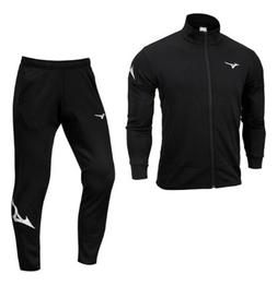 Mizuno Men Full-Zip Warm Up 19 Suit Set Black Jacket Pant GY