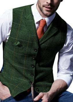 Men Retro Tweed Waistcoat Plaid Slim Fit Formal Wool Blend H