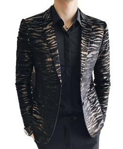 Men's 2 Button Golden Black High Quality Formal Blazers Spor