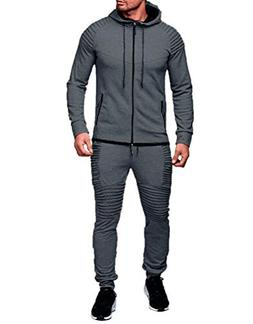 Heartell Men's 2 Piece Tracksuits Pleated Jogger Pants + Lon