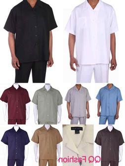 Men's 2pc Walking Suit Short Sleeve Casual Shirt & Pants Set