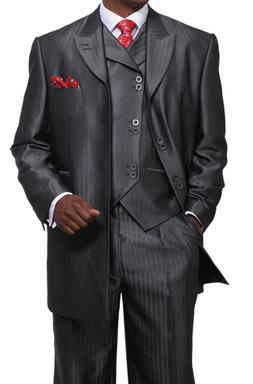 Men's 3 Piece Luxurious Suits Wool Feel Herring Bone Striped