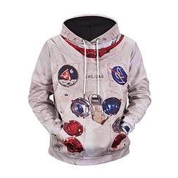 UGGKA US Men's 3D Print Astronaut Suit Hooded Sweatshirt Hoo