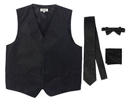 Gioberti Men's 4 Piece Formal Paisley Vest Set, Black, 4X La