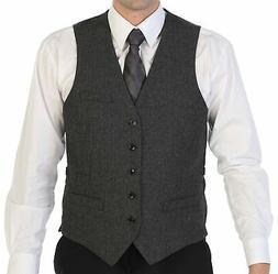 Gioberti Men's 5 Button Formal Tweed Suit Vest 51 - Herringb
