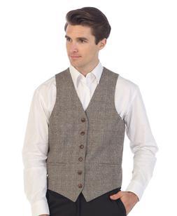 Gioberti Men's 6 Button Custom Formal Tweed Vest, VS-951