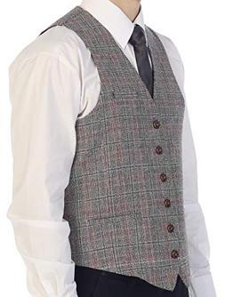 Gioberti Men's 6 Button Custom Formal Tweed Vest, Checked Bl