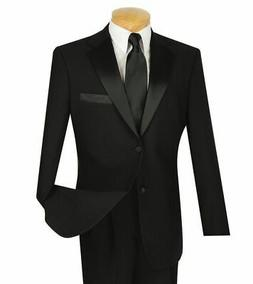 Men's Black Classic Fit Formal Tuxedo Suit w/ Sateen Lapel &
