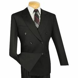 Vinci Men's Black Double Breasted 6 Button Classic Fit Suit