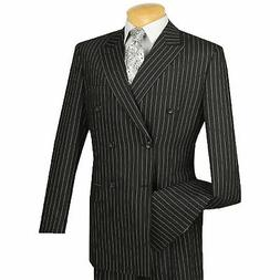 VINCI Men's Black Pinstripe Double Breasted 6 Button Classic