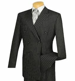 Vinci Men's Black Pinstripe Double Breasted 6 Button Classic