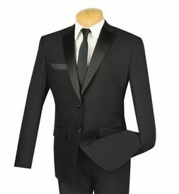 Men's Black Slim Fit Formal Tuxedo Suit w/ Sateen Lapel & Tr