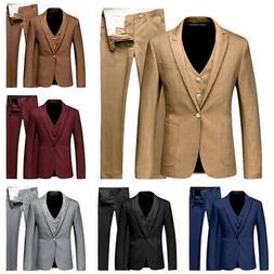 Men' s Blazer Coat Pants Suit Prom Tuxedo Slim Fit 3 Piece G