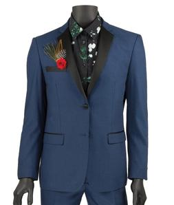 Vinci Men's Blue 2 Button Extreme Slim Fit Tuxedo Suit NEW