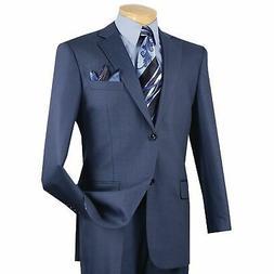 VINCI Men's Blue Textured Solid 2 Button Classic Fit Busines