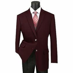 Vinci Men's Burgundy Classic Fit Notch Lapel Sport Coat Blaz
