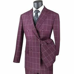 VINCI Men's Burgundy Windowpane Double Breasted 6 Button Mod