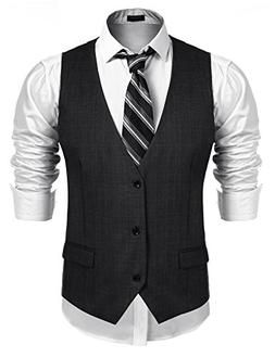 Coofandy Men's Business Suit Vest,Slim Fit Skinny Wedding Wa