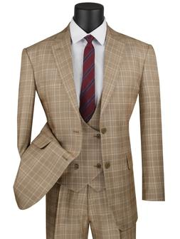 Vinci Men's Camel Beige Glen Plaid 3 Piece 2 Button Classic