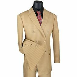 VINCI Men's Camel Beige Pinstripe Double Breasted 6 Button C