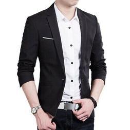 Men's Casual Business Slim Fit Formal One Button Suit Blazer