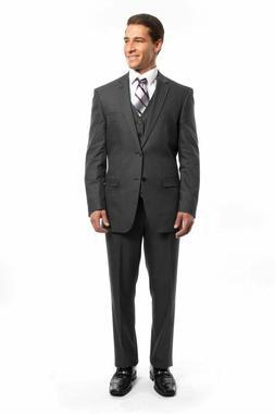 Men's Charcoal 3 Piece 2 Button Pinstripe Suit Modern Fit St