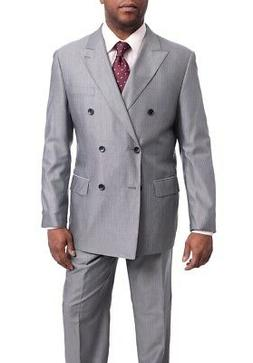 Men's Arthur Black Classic Fit Gray Pinstriped Double Breast