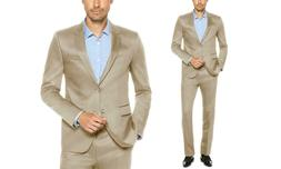 Verno Men's Classic-Fit Sharkskin Suits  Gold 34Rx28W