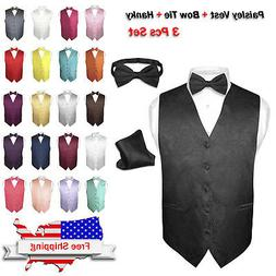 Men's Dress VEST Bow Tie Hankie Set PAISLEY Design for Suit