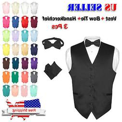 Men's Dress Vest BOWTie Hanky Solid Color Waistcoat Bow Tie
