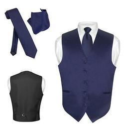Men's Dress Vest NeckTie Hanky NAVY BLUE Color Neck Tie Set