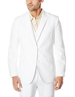 Cubavera Men's Easy Care Linen Blend Jacket, Bright White, X