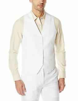 Cubavera Men's Easy Care Linen Blend Vest, Bright  - Choose