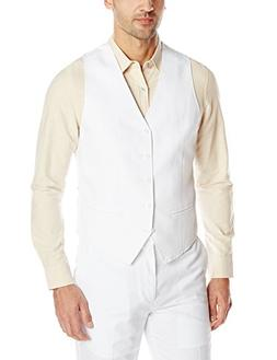 Cubavera Men's Easy Care Linen Blend Vest, Bright White, XX-