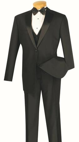Men's Formal Tuxedo Suit Black 4 Piece Classic Fit Wedding P