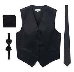 Men's Formal Vest Set, Bowtie, Tie, Pocket Square, Black, Sm