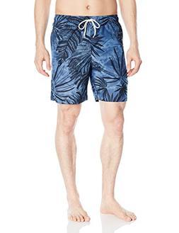 Cubavera Men's Full Elastic Swim Short, Palm Leaf Ensign Blu
