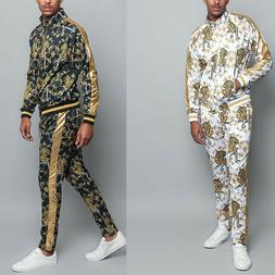 Men's Gold Accent Tiger Print Track Suits 2 Piece Sweat suit