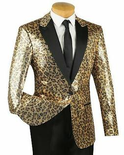 Vinci Men's Gold Leopard Print Sequins 1 Button Peak Lapel T