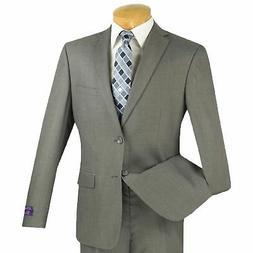 Vinci Men's Gray 2 Button Extreme Slim Fit Suit NEW