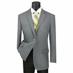 Vinci Men's Gray Classic Fit Notch Lapel Sport Coat Blazer N