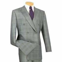VINCI Men's Gray Glen Plaid Double Breasted 6 Button Classic